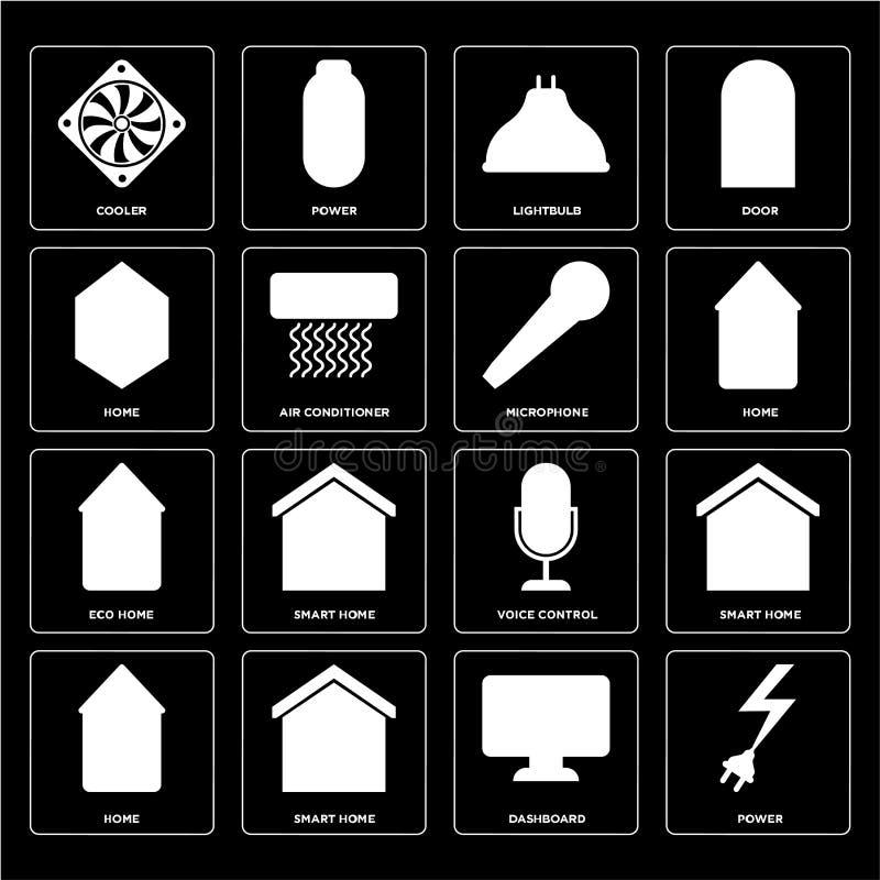 Insieme di potere, cruscotto, casa, controllo di voce, casa di Eco, Micropho royalty illustrazione gratis