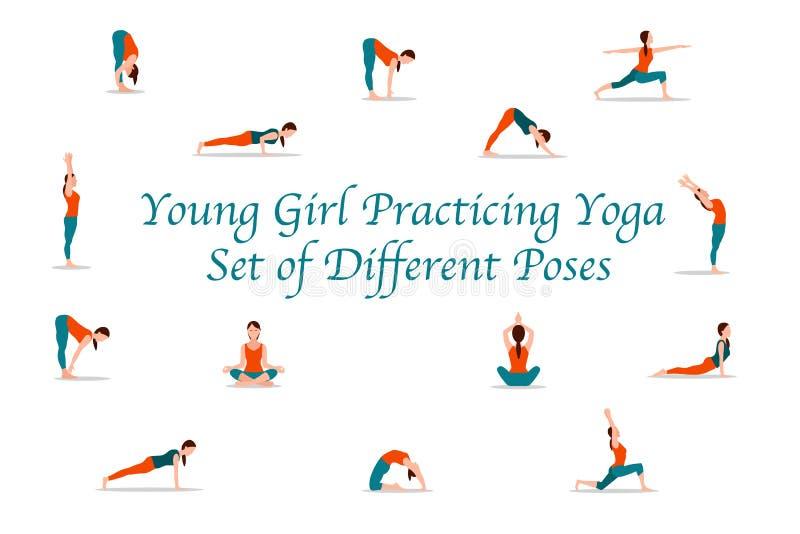 Insieme di pratica di yoga della ragazza delle pose differenti illustrazione di stock