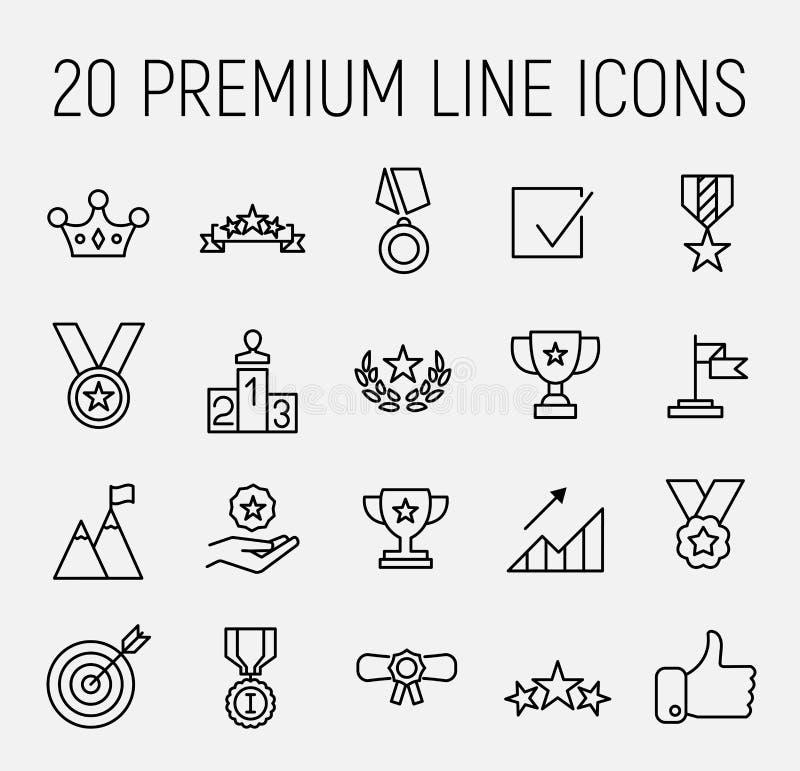 Insieme di premio della linea icone di successo illustrazione vettoriale