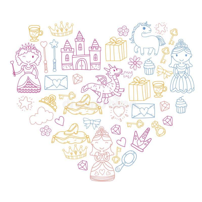 Insieme di principessa di scarabocchio e dell'icona di fantasia ed ed elemento di progettazione per la cartolina d'auguri e dell' illustrazione di stock