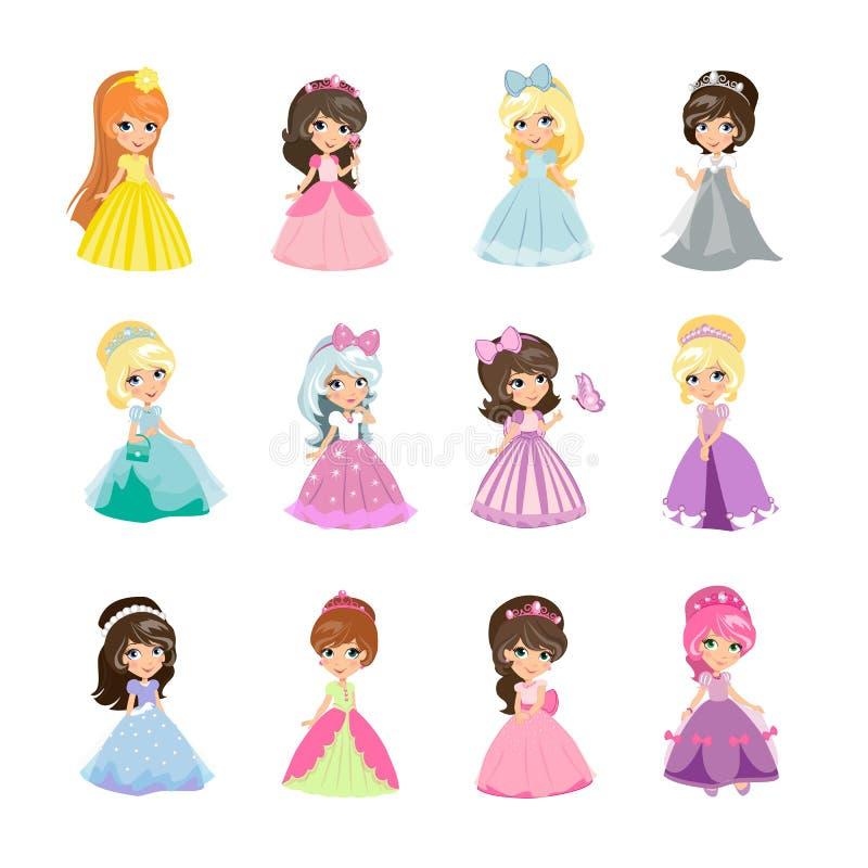 Insieme di principesse nel vettore isolato vestiti da sera royalty illustrazione gratis