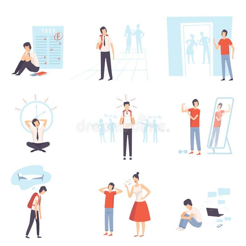 Insieme di problemi dell'adolescente, ansia, depressione, problemi con i genitori, sforzo a scuola, illustrazione di vettore di B illustrazione vettoriale