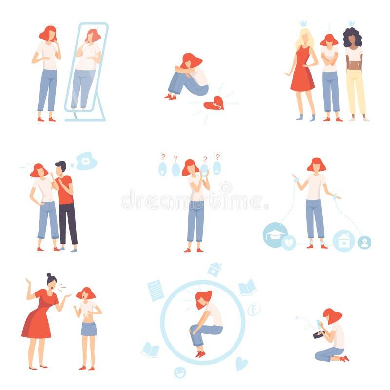 Insieme di problemi di pubertà dell'adolescente, ansia, depressione, problemi con i genitori, sforzo a scuola, Bulling, non corri illustrazione di stock