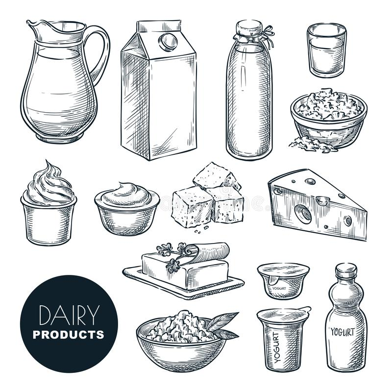 Insieme di prodotti fresco dell'azienda lattiera Illustrazione disegnata a mano di schizzo di vettore Bottiglia per il latte, ric illustrazione vettoriale