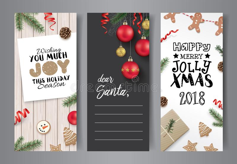 Insieme di progettazione di cartoline di Natale illustrazione di stock