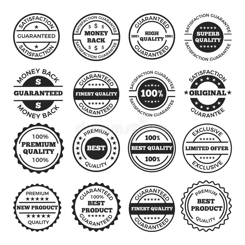 Insieme di progettazione dei distintivi e del logos di garanzia Immagini di monocromio di vettore illustrazione vettoriale