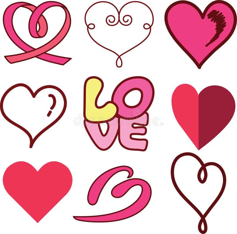 Insieme di progettazione del cuore di amore immagine stock libera da diritti