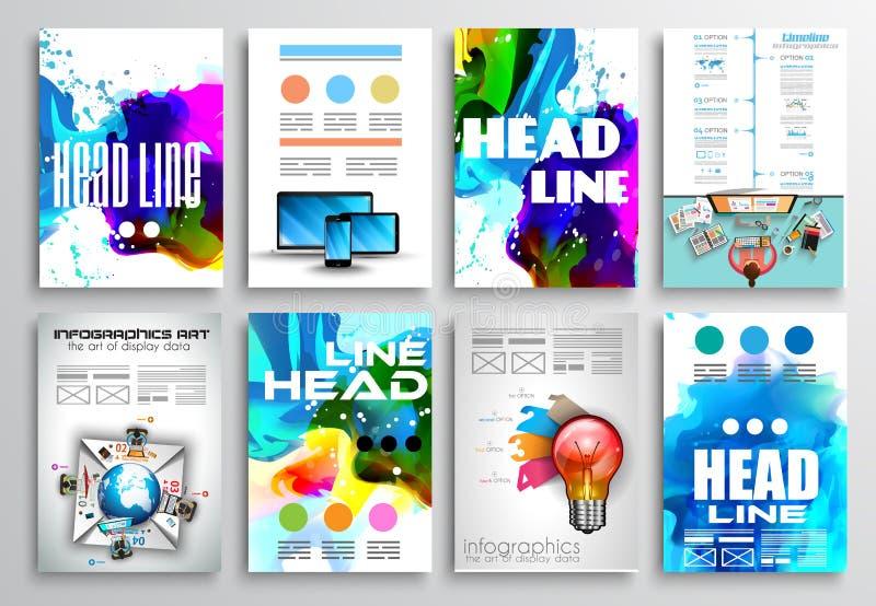 Insieme di progettazione dell'aletta di filatoio, progettazioni dell'opuscolo di Infographics illustrazione di stock