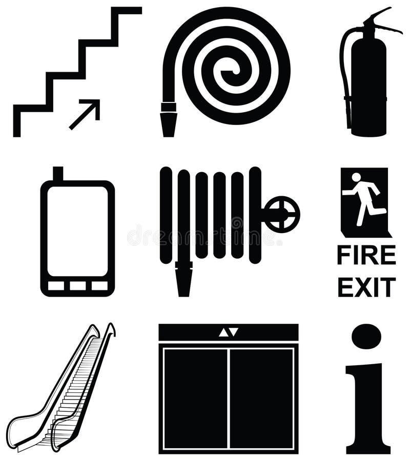 Insieme di progettazione dell'elevatore, modo della scala, cellulare radiofonico, ascensore, illustrazione di stock