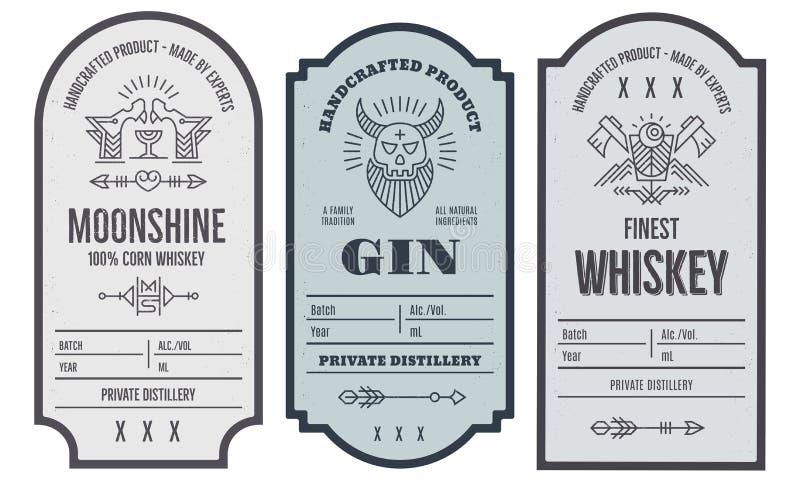 Insieme di progettazione dell'etichetta della bottiglia di intage con gli elementi etnici nella linea stile sottile royalty illustrazione gratis