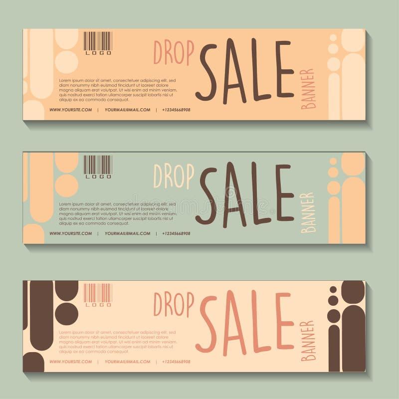 Insieme di progettazione dell'insegna di vendita di goccia illustrazione vettoriale