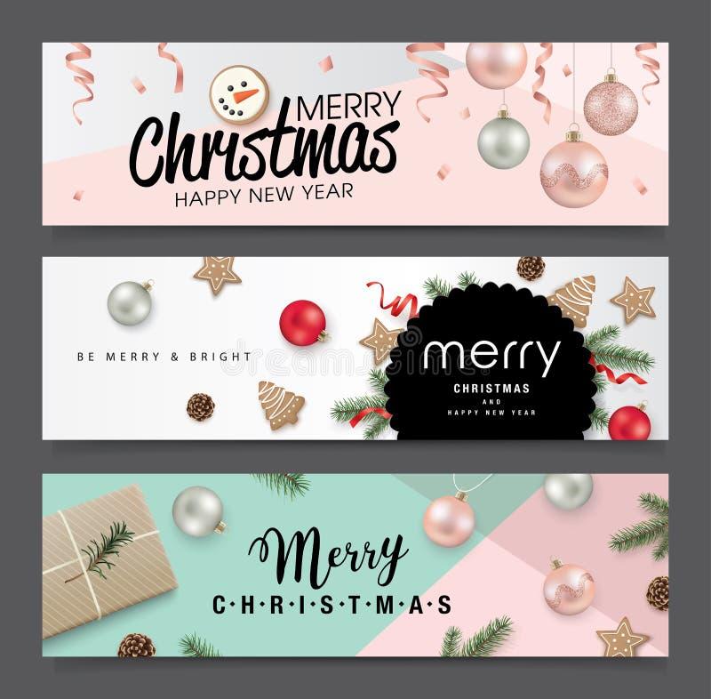 Insieme di progettazione delle insegne di Natale royalty illustrazione gratis