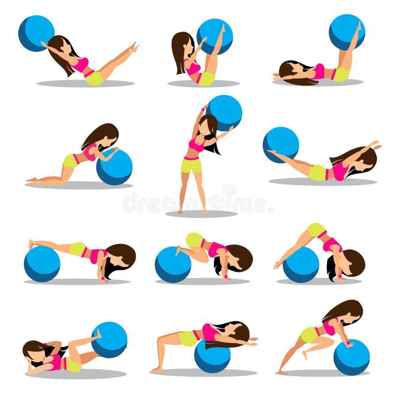 Insieme di progettazione di allenamenti della palla di esercizio illustrazione vettoriale