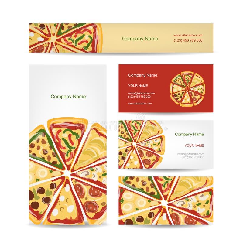 Insieme di progettazione di biglietti da visita con le fette della pizza illustrazione di stock