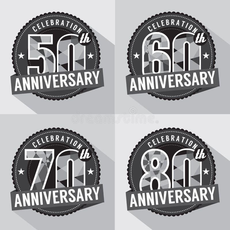 Insieme di progettazione di celebrazione di anniversario illustrazione vettoriale