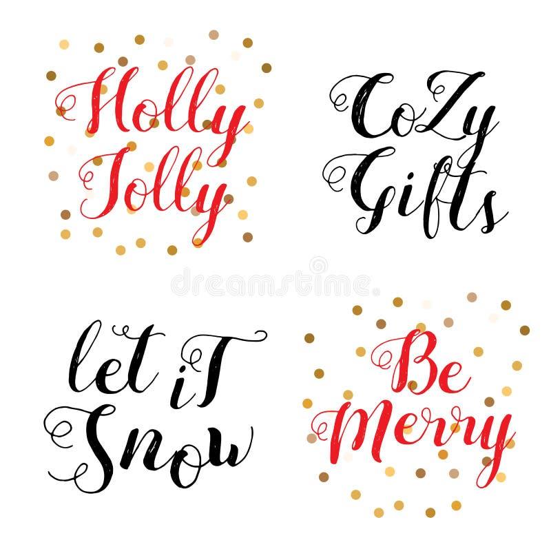 Insieme di progettazione di iscrizione di Buon Natale illustrazione di stock