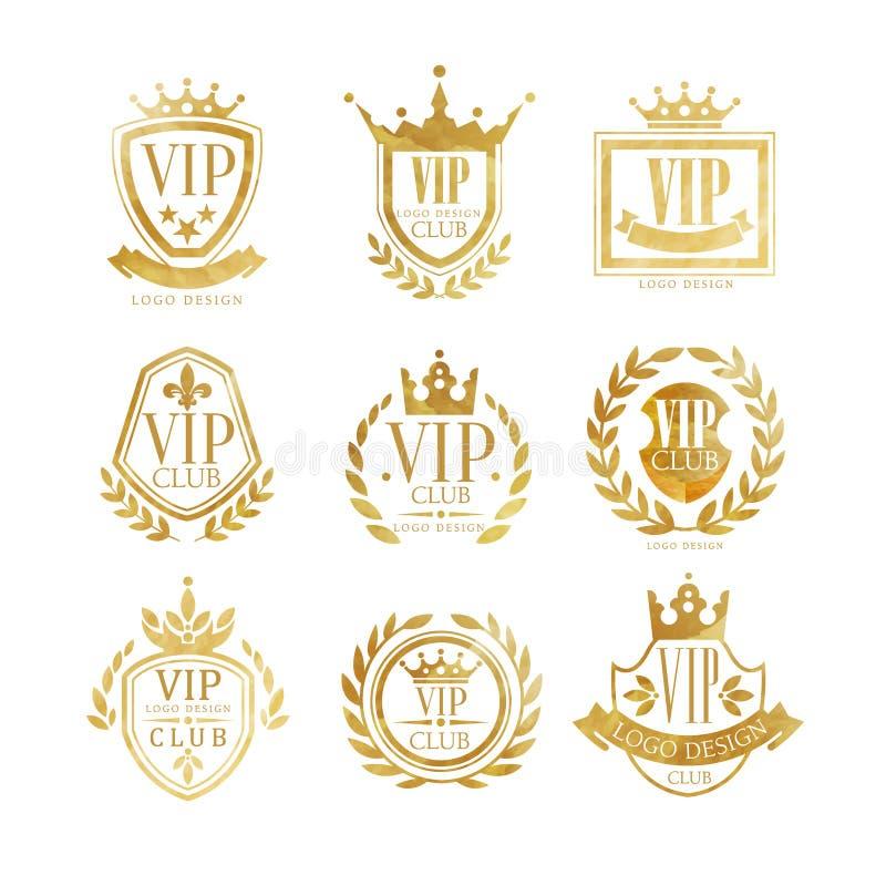 Insieme di progettazione di logo del club di VIP, distintivo dorato di lusso per il boutique, ristorante, illustrazioni di vettor illustrazione vettoriale