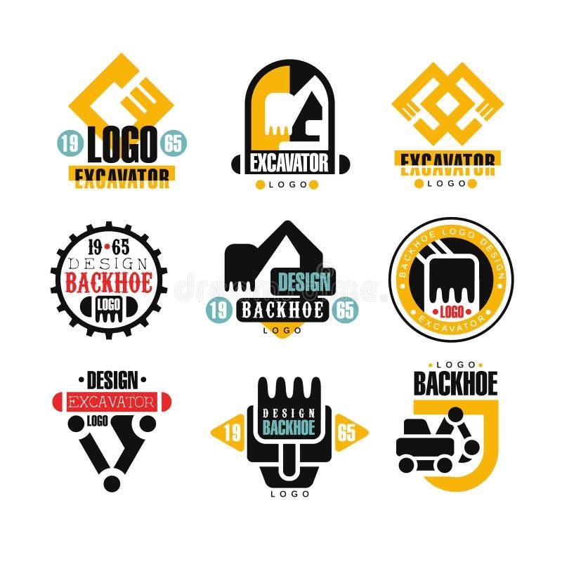 Insieme di progettazione di logo dell'escavatore, illustrazioni di vettore di servizio dell'escavatore a cucchiaia rovescia illustrazione di stock