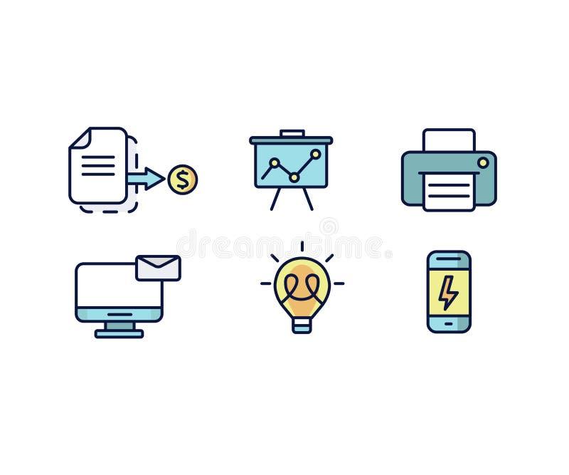 Insieme di progettazione piana delle icone di web per l'affare, la finanza e la comunicazione Illustrazione di vettore royalty illustrazione gratis