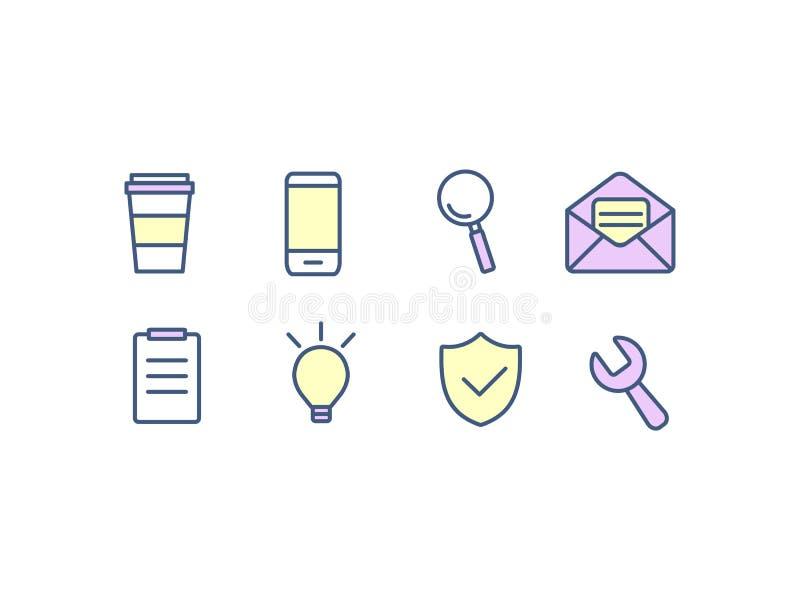Insieme di progettazione piana delle icone di web per l'affare, la finanza e la comunicazione Illustrazione di vettore illustrazione di stock
