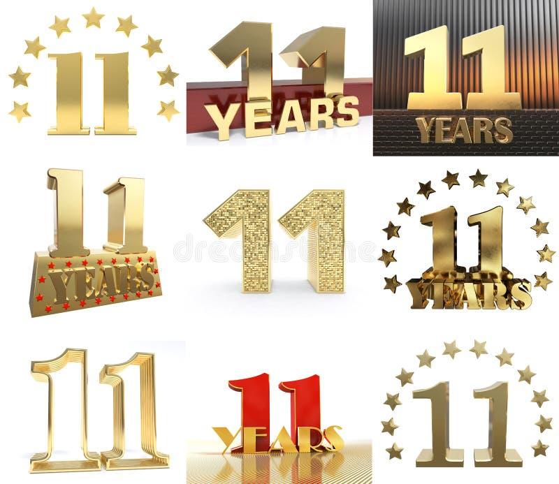Insieme di progettazione di undici anni di celebrazione di 11 anno di numero Elementi dorati del modello di numero di anniversari illustrazione vettoriale