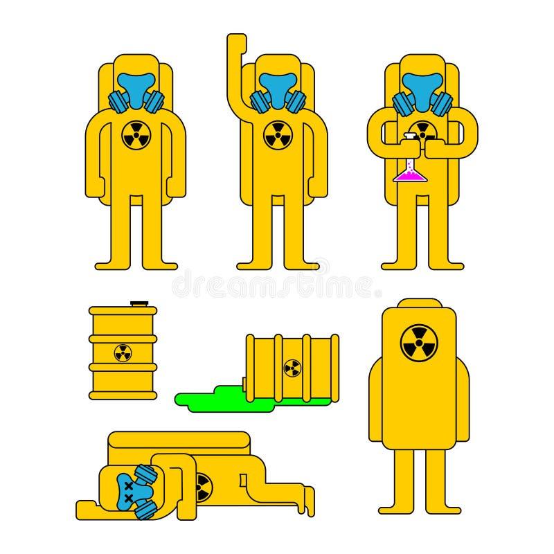 Insieme di protezione di rischio biologico Protezione chimica e sedere del vestito giallo illustrazione vettoriale