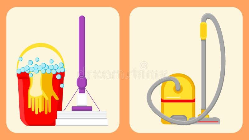 Insieme di pulizia delle illustrazioni di vettore degli apparecchi della Camera royalty illustrazione gratis