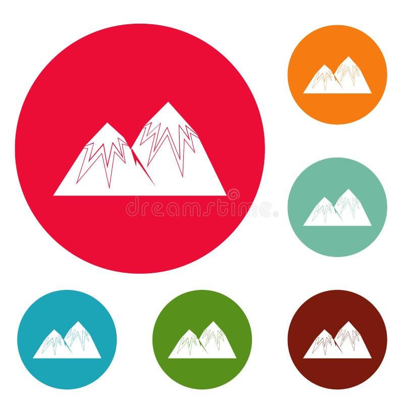 Insieme di punta del cerchio delle icone della neve illustrazione di stock