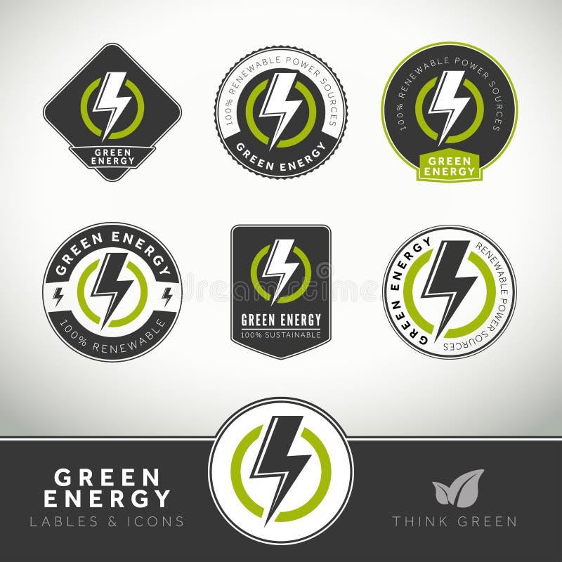 Insieme di qualità delle etichette e dei distintivi verdi di energia illustrazione di stock