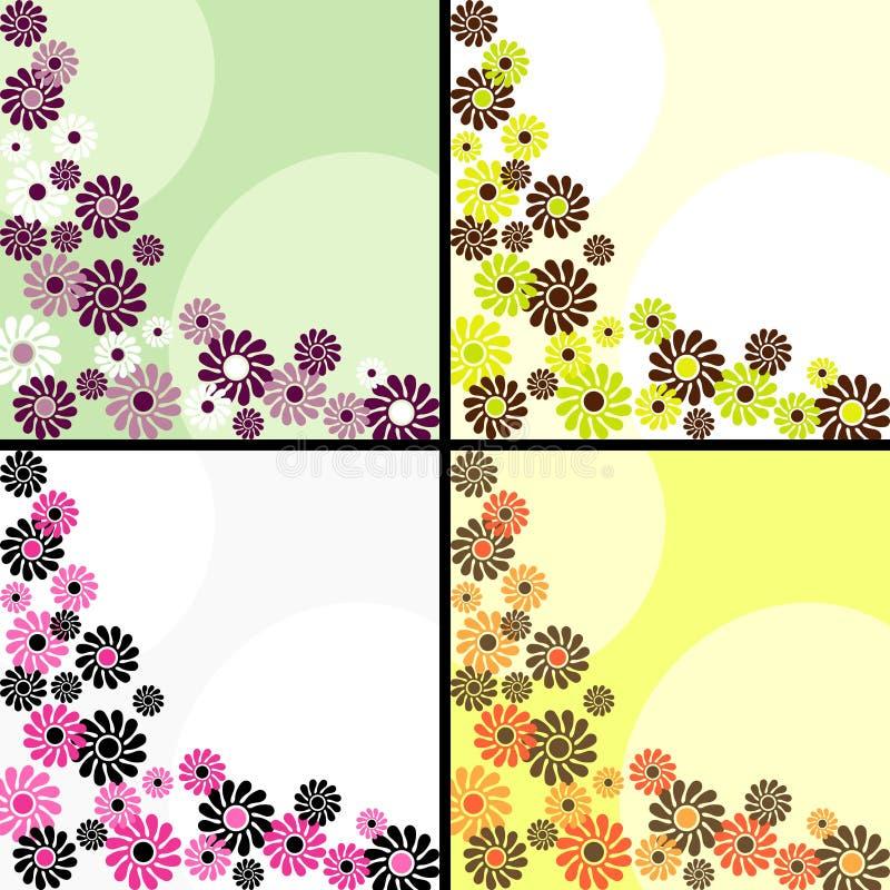 Insieme di retro ambiti di provenienza quadrati con i fiori illustrazione di stock