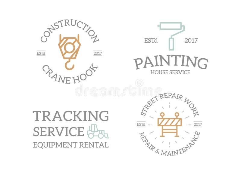 Insieme di retro costruzione, gancio della gru, rullo di pittura, escavatore, logo del recinto o insegne d'annata, emblemi, etich royalty illustrazione gratis