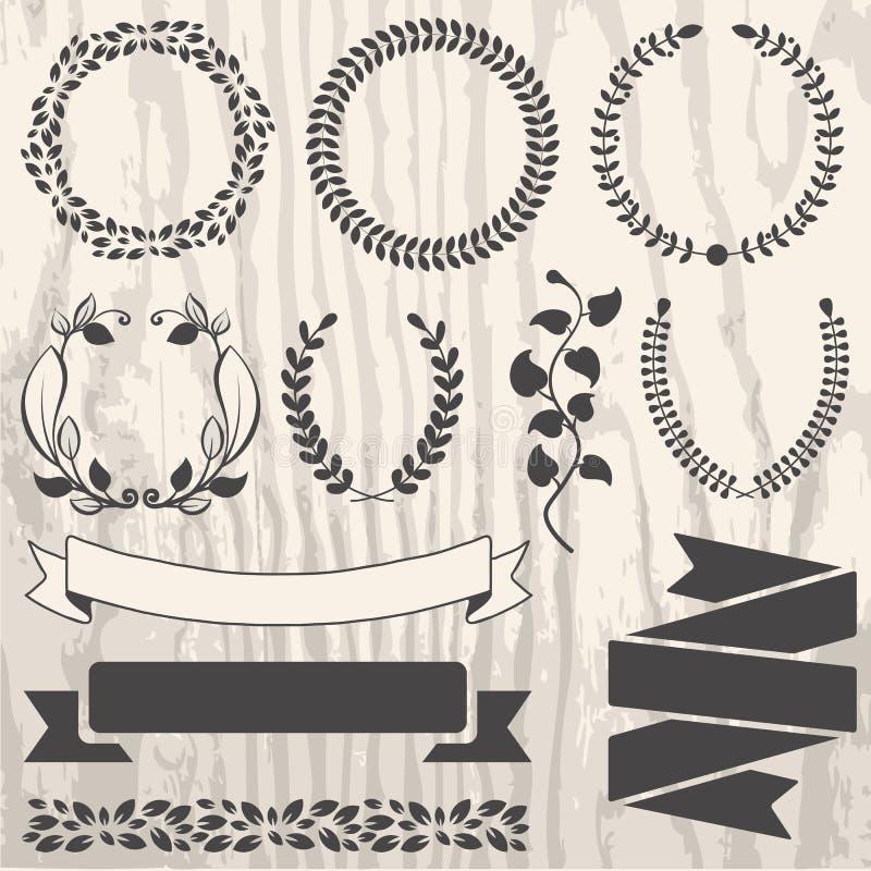 Insieme di retro elementi del grafico di vettore per progettazione sul lerciume di legno illustrazione di stock
