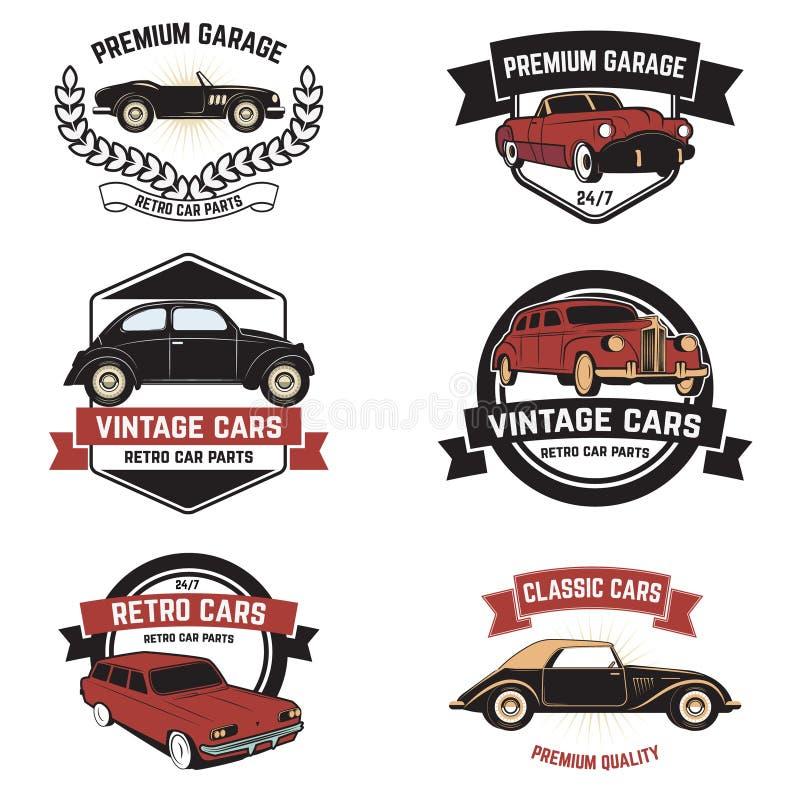 Insieme di retro emblemi di servizio dell'automobile Veicolo d'annata, autom di riparazione illustrazione di stock