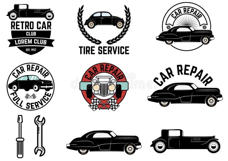 Insieme di retro etichette del club dell'automobile royalty illustrazione gratis