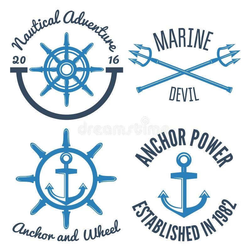 Insieme di retro etichette e distintivi nautici d'annata illustrazione di stock
