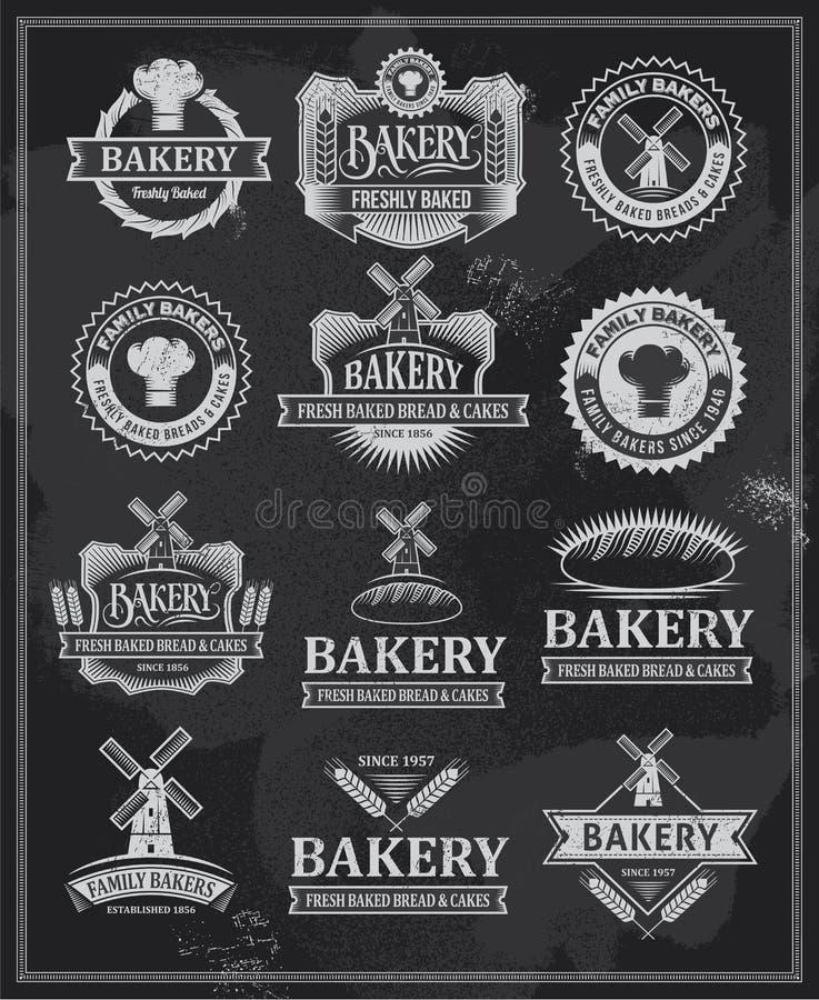 Insieme di retro etichette e nastri d'annata del forno royalty illustrazione gratis