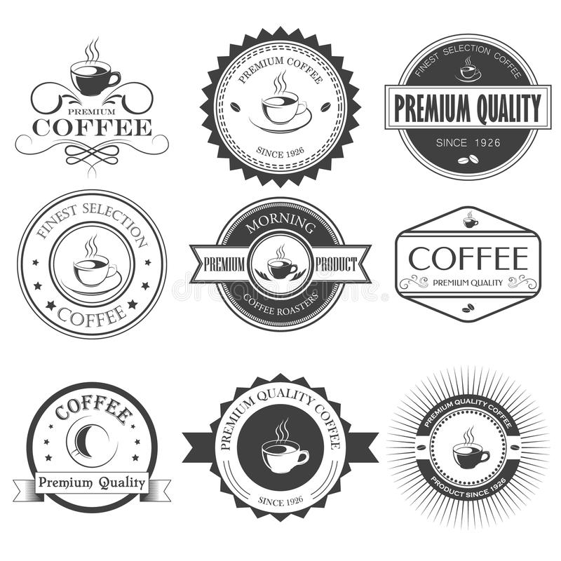 Insieme di retro etichette, nastri e carte del caffè per progettazione d'annata illustrazione di stock