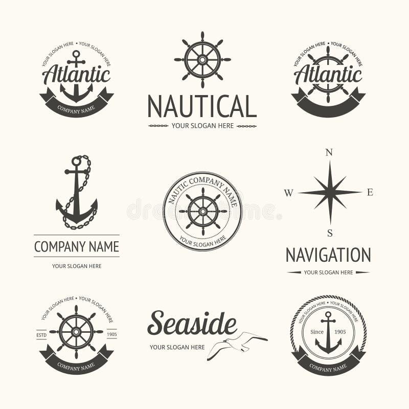 Insieme di retro etichette nautiche illustrazione vettoriale