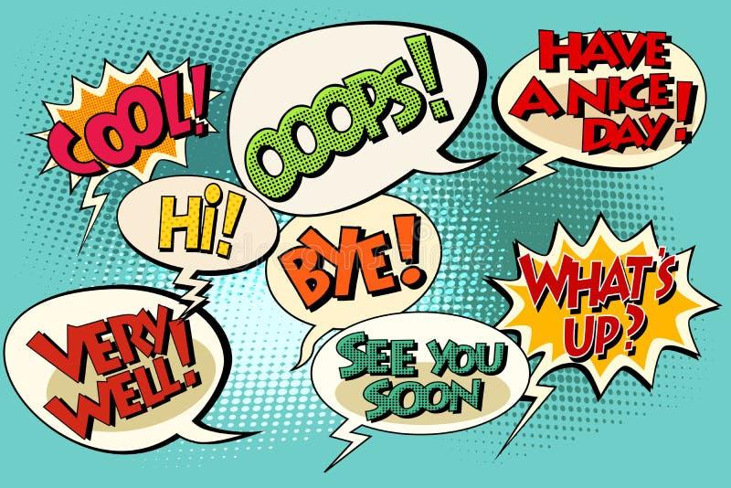 Insieme di retro frasi comiche di Pop art delle bolle illustrazione vettoriale