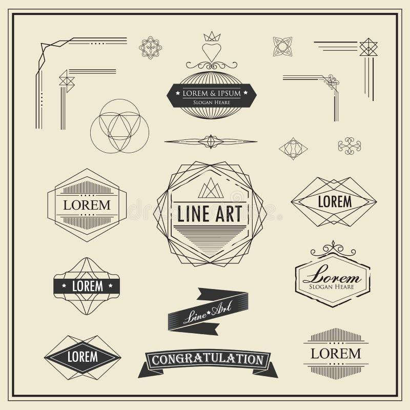 Insieme di retro linea sottile lineare d'annata elementi di progettazione di art deco illustrazione di stock