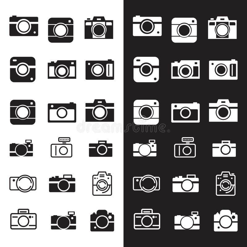 Insieme di retro logo della macchina fotografica illustrazione di stock