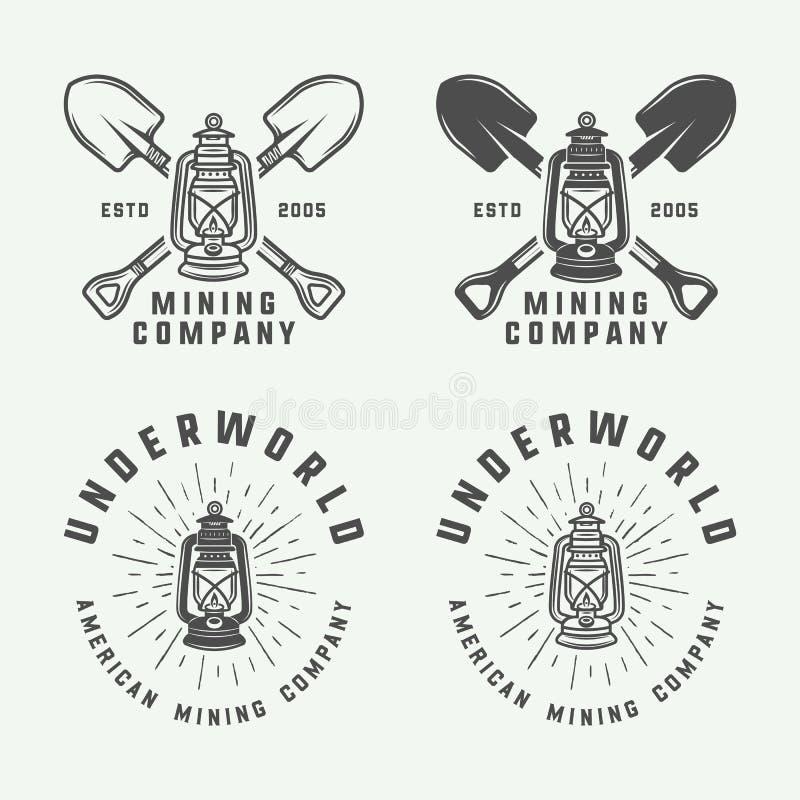 Insieme di retro logos della costruzione o di estrazione mineraria, distintivi, emblemi illustrazione vettoriale