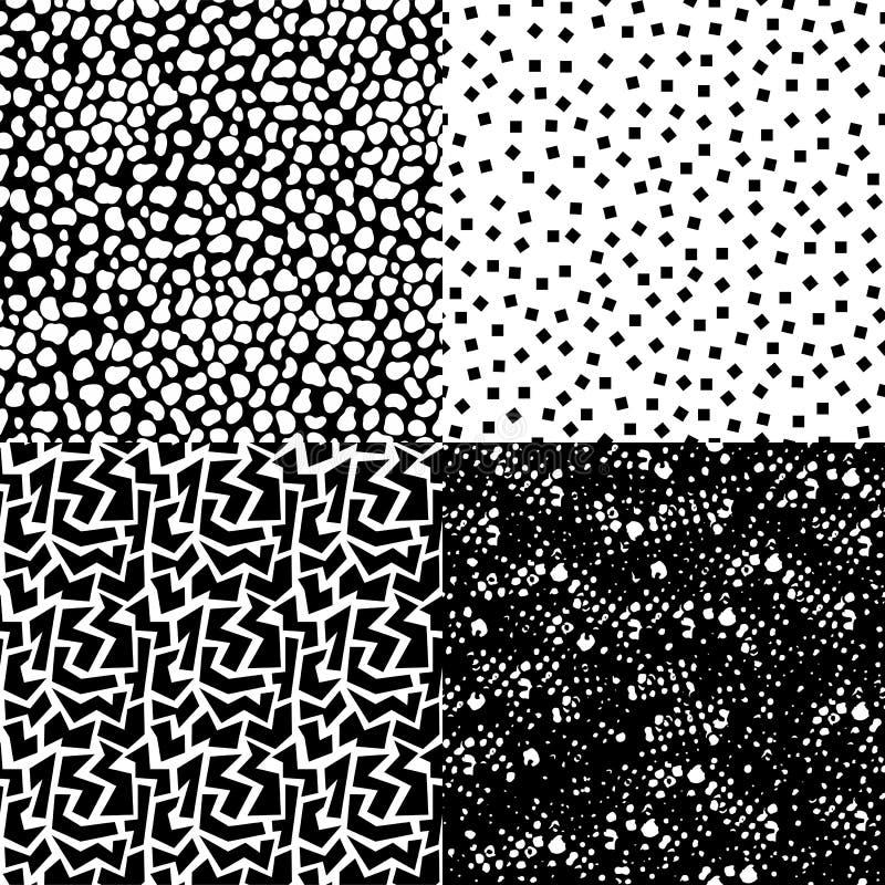Insieme di retro modello senza cuciture in bianco e nero illustrazione vettoriale