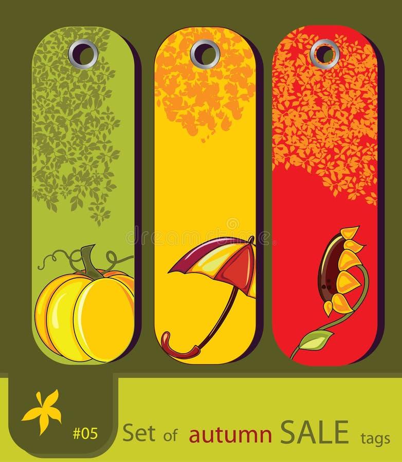 Insieme di retro modifiche di autunno della natura di vendita illustrazione vettoriale