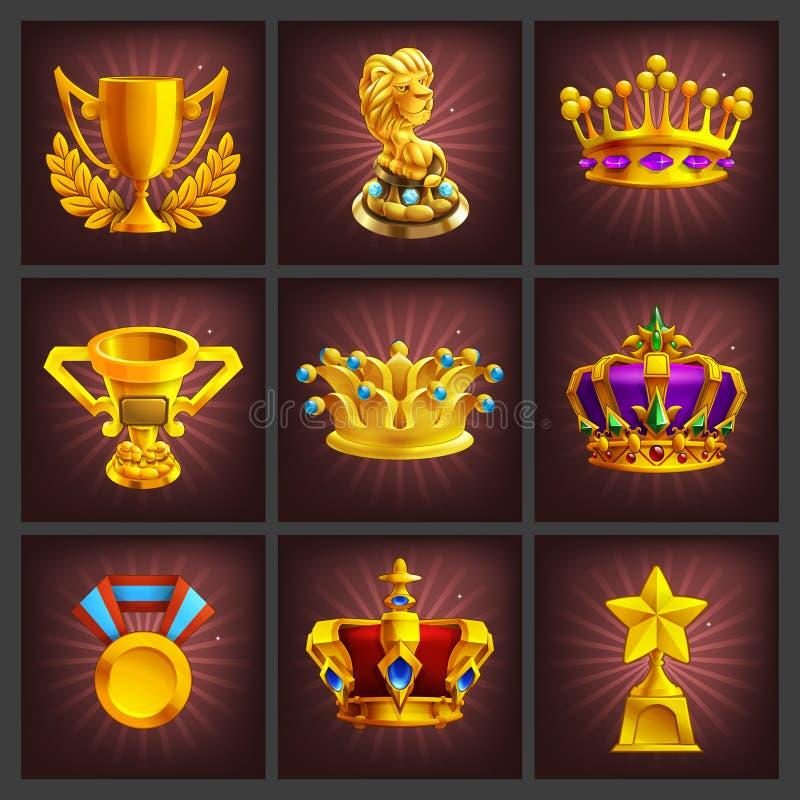 Insieme di ricezione dello schermo dorato del gioco dei trofei, delle medaglie, del premio e di risultati del fumetto illustrazione vettoriale