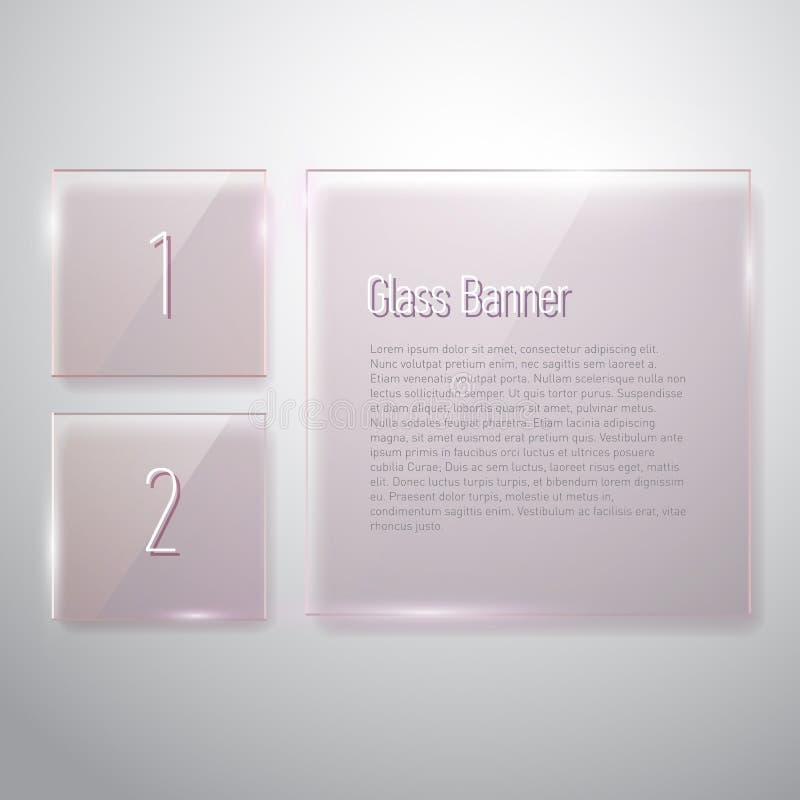 Insieme di riflessione delle insegne di vetro quadrate su fondo bianco illustrazione di stock