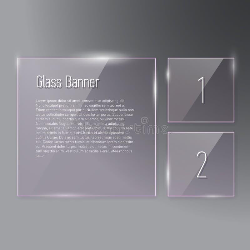 Insieme di riflessione delle insegne di vetro quadrate sul fondo di pendenza illustrazione di stock