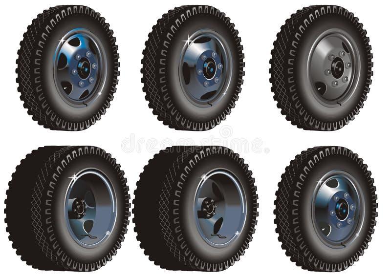 Insieme di rotelle del camion illustrazione vettoriale