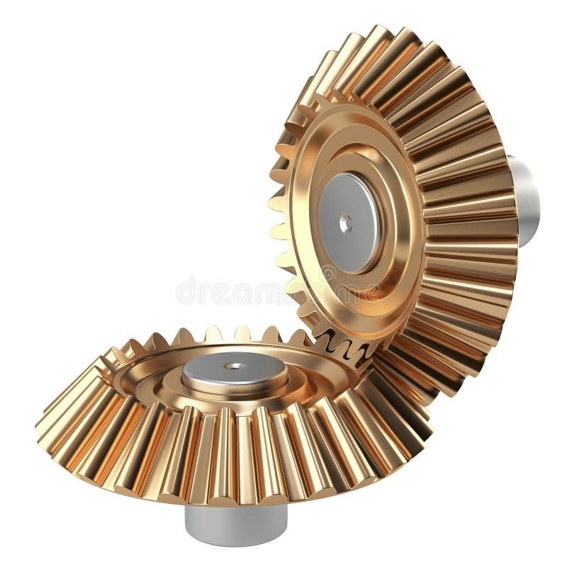 Insieme di ruote conico d'ottone dell'ingranaggio illustrazione di stock