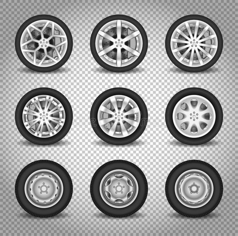 Insieme di ruote dell'automobile illustrazione vettoriale